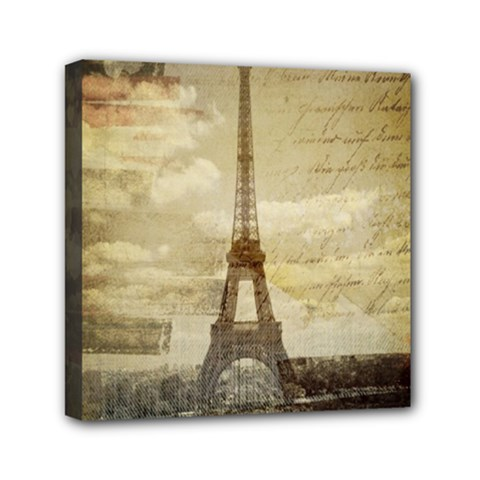 Elegant Vintage Paris Eiffel Tower Art Mini Canvas 6  X 6  (framed) by chicelegantboutique