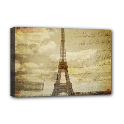 Elegant Vintage Paris Eiffel Tower Art Deluxe Canvas 18  X 12  (framed)