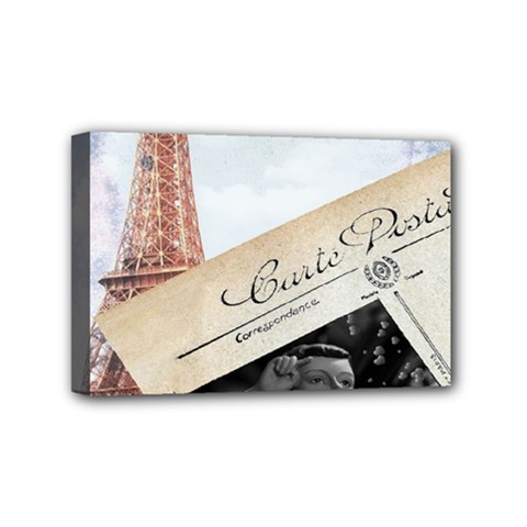 French Postcard Vintage Paris Eiffel Tower Mini Canvas 6  X 4  (framed) by chicelegantboutique