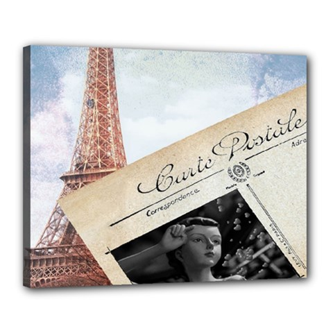 French Postcard Vintage Paris Eiffel Tower Canvas 20  X 16  (framed) by chicelegantboutique