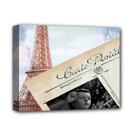 French Postcard Vintage Paris Eiffel Tower Deluxe Canvas 14  X 11  (framed) by chicelegantboutique