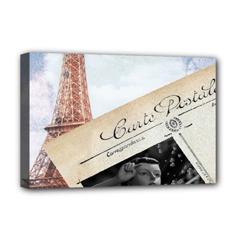 French Postcard Vintage Paris Eiffel Tower Deluxe Canvas 18  X 12  (framed) by chicelegantboutique
