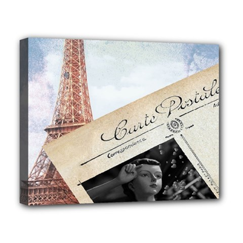 French Postcard Vintage Paris Eiffel Tower Deluxe Canvas 20  X 16  (framed) by chicelegantboutique