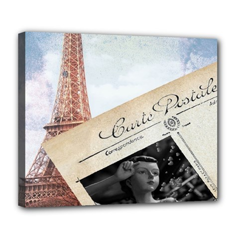 French Postcard Vintage Paris Eiffel Tower Deluxe Canvas 24  X 20  (framed)