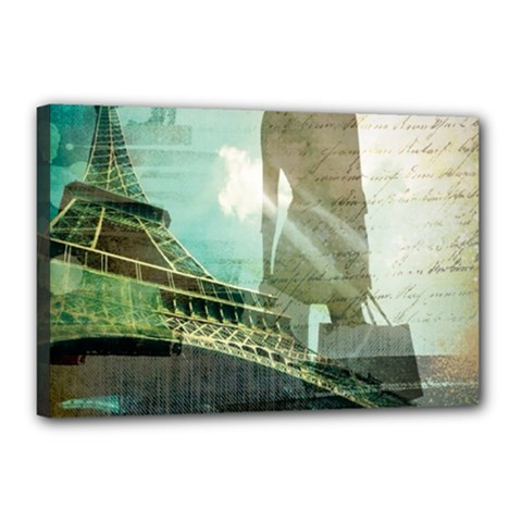 Modern Shopaholic Girl  Paris Eiffel Tower Art  Canvas 18  X 12  (framed) by chicelegantboutique