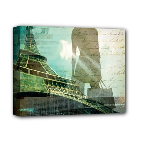 Modern Shopaholic Girl  Paris Eiffel Tower Art  Deluxe Canvas 14  X 11  (framed)