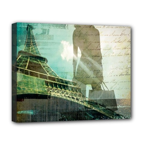 Modern Shopaholic Girl  Paris Eiffel Tower Art  Deluxe Canvas 20  X 16  (framed) by chicelegantboutique