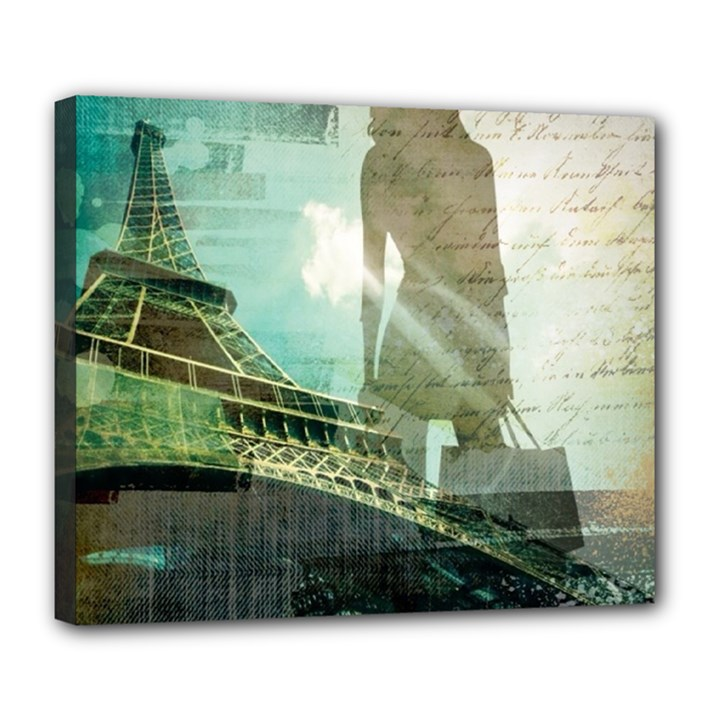 Modern Shopaholic Girl  Paris Eiffel Tower Art  Deluxe Canvas 24  x 20  (Framed)