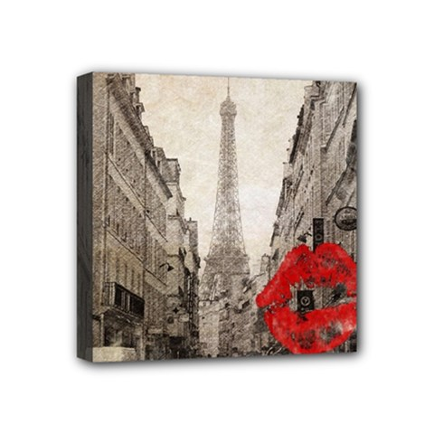 Elegant Red Kiss Love Paris Eiffel Tower Mini Canvas 4  X 4  (framed) by chicelegantboutique
