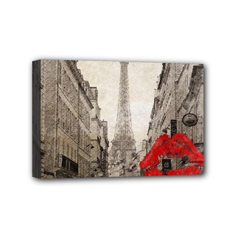 Elegant Red Kiss Love Paris Eiffel Tower Mini Canvas 6  X 4  (framed) by chicelegantboutique