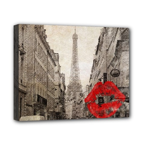 Elegant Red Kiss Love Paris Eiffel Tower Canvas 10  X 8  (framed)