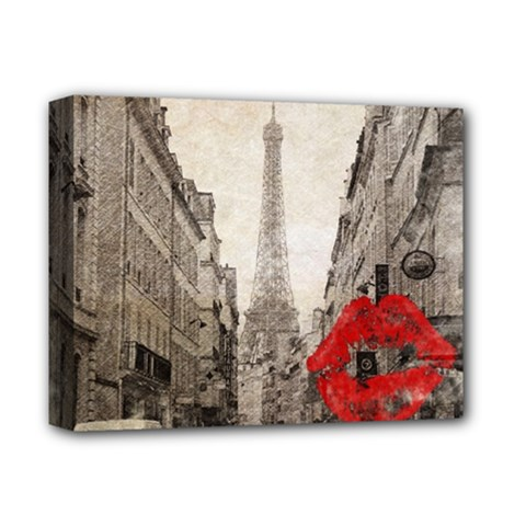 Elegant Red Kiss Love Paris Eiffel Tower Deluxe Canvas 14  x 11  (Framed) by chicelegantboutique
