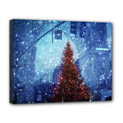 Elegant Winter Snow Flakes Gate Of Victory Paris France Canvas 14  X 11  (framed) by chicelegantboutique