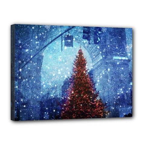 Elegant Winter Snow Flakes Gate Of Victory Paris France Canvas 16  X 12  (framed) by chicelegantboutique