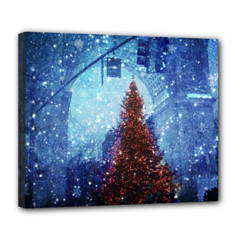 Elegant Winter Snow Flakes Gate Of Victory Paris France Deluxe Canvas 24  X 20  (framed) by chicelegantboutique
