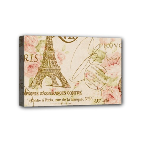 Floral Eiffel Tower Vintage French Paris Art Mini Canvas 6  X 4  (framed) by chicelegantboutique