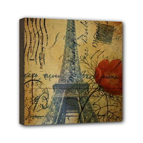 Vintage Stamps Postage Poppy Flower Floral Eiffel Tower Vintage Paris Mini Canvas 6  X 6  (framed) by chicelegantboutique