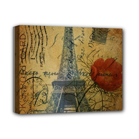Vintage Stamps Postage Poppy Flower Floral Eiffel Tower Vintage Paris Deluxe Canvas 14  X 11  (framed) by chicelegantboutique