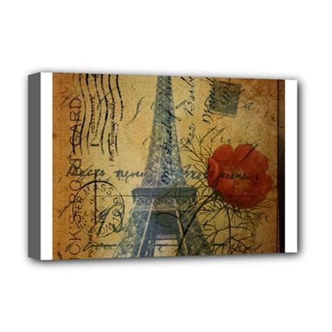 Vintage Stamps Postage Poppy Flower Floral Eiffel Tower Vintage Paris Deluxe Canvas 18  X 12  (framed) by chicelegantboutique