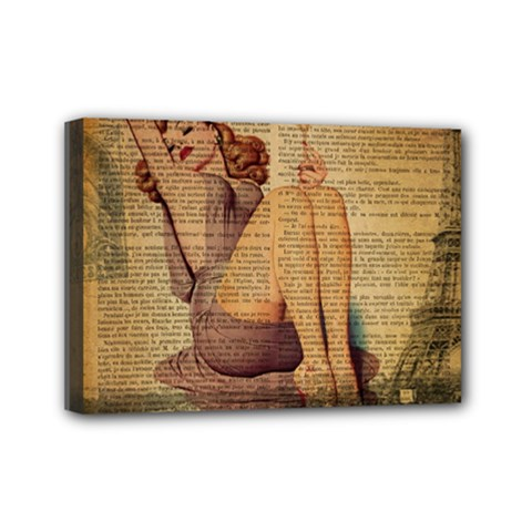 Vintage Newspaper Print Pin Up Girl Paris Eiffel Tower Mini Canvas 7  X 5  (framed) by chicelegantboutique