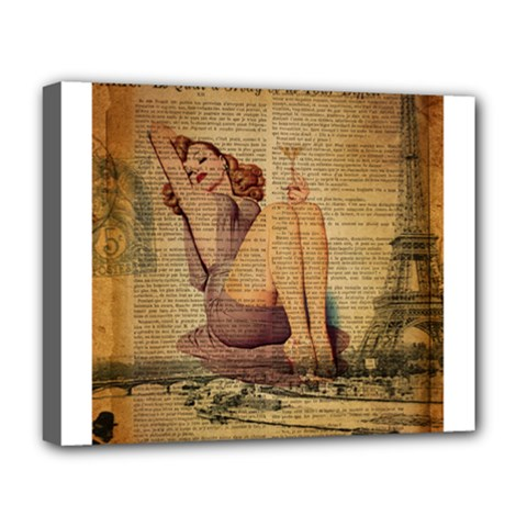 Vintage Newspaper Print Pin Up Girl Paris Eiffel Tower Deluxe Canvas 20  X 16  (framed) by chicelegantboutique