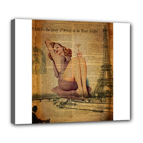 Vintage Newspaper Print Pin Up Girl Paris Eiffel Tower Deluxe Canvas 24  X 20  (framed) by chicelegantboutique