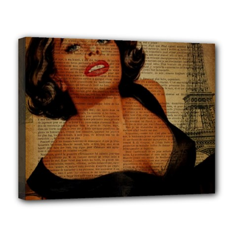 Vintage Newspaper Print Pin Up Girl Paris Eiffel Tower Canvas 14  X 11  (framed) by chicelegantboutique