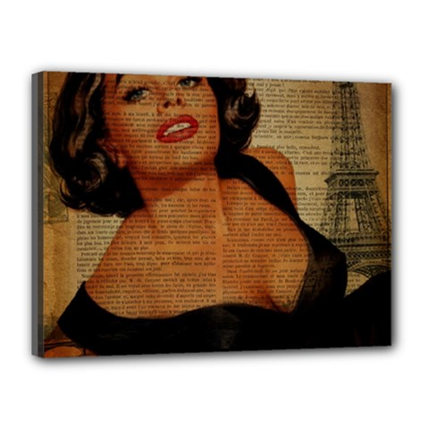 Vintage Newspaper Print Pin Up Girl Paris Eiffel Tower Canvas 16  X 12  (framed) by chicelegantboutique