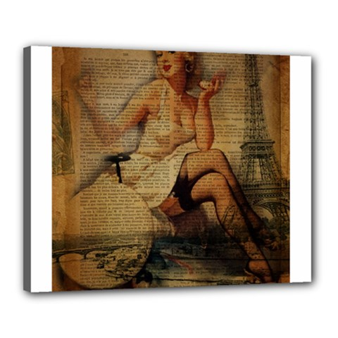Vintage Newspaper Print Sexy Hot Gil Elvgren Pin Up Girl Paris Eiffel Tower Canvas 20  X 16  (framed) by chicelegantboutique