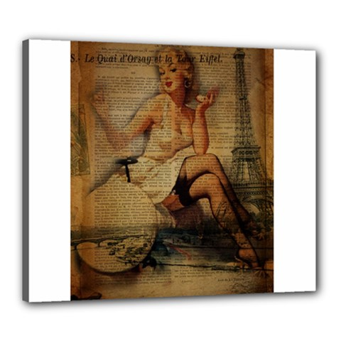 Vintage Newspaper Print Sexy Hot Gil Elvgren Pin Up Girl Paris Eiffel Tower Canvas 24  x 20  (Framed) by chicelegantboutique