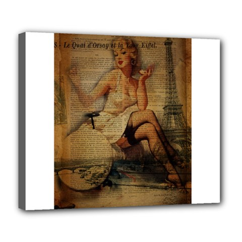 Vintage Newspaper Print Sexy Hot Gil Elvgren Pin Up Girl Paris Eiffel Tower Deluxe Canvas 24  X 20  (framed) by chicelegantboutique