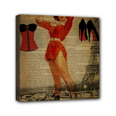 Vintage Newspaper Print Sexy Hot Gil Elvgren Pin Up Girl Paris Eiffel Tower Western Country Naughty  Mini Canvas 6  X 6  (framed) by chicelegantboutique