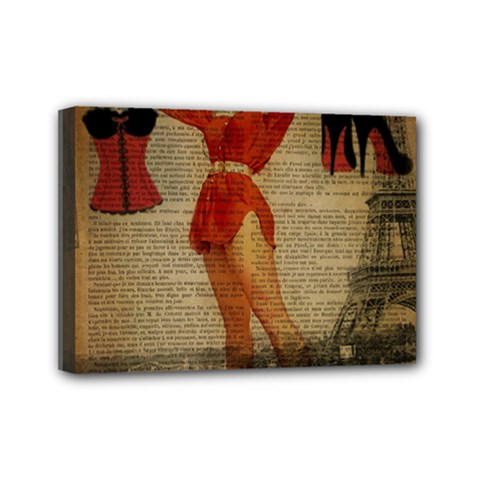 Vintage Newspaper Print Sexy Hot Gil Elvgren Pin Up Girl Paris Eiffel Tower Western Country Naughty  Mini Canvas 7  X 5  (framed) by chicelegantboutique