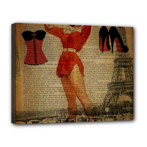 Vintage Newspaper Print Sexy Hot Gil Elvgren Pin Up Girl Paris Eiffel Tower Western Country Naughty  Canvas 14  X 11  (framed) by chicelegantboutique