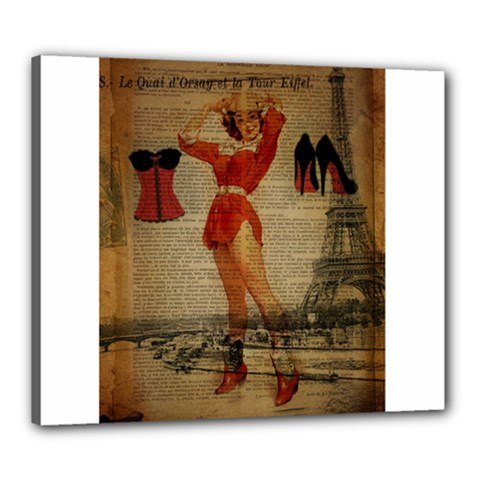 Vintage Newspaper Print Sexy Hot Gil Elvgren Pin Up Girl Paris Eiffel Tower Western Country Naughty  Canvas 24  X 20  (framed) by chicelegantboutique