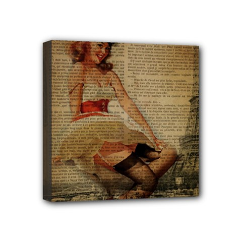 Cute Sweet Sailor Dress Vintage Newspaper Print Sexy Hot Gil Elvgren Pin Up Girl Paris Eiffel Tower Mini Canvas 4  X 4  (framed) by chicelegantboutique