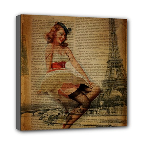 Cute Sweet Sailor Dress Vintage Newspaper Print Sexy Hot Gil Elvgren Pin Up Girl Paris Eiffel Tower Mini Canvas 8  X 8  (framed) by chicelegantboutique