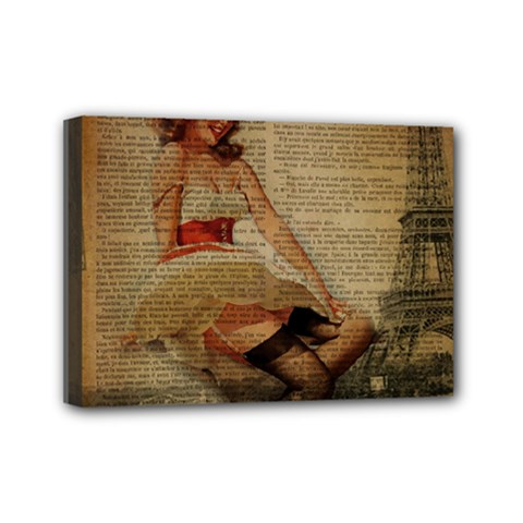 Cute Sweet Sailor Dress Vintage Newspaper Print Sexy Hot Gil Elvgren Pin Up Girl Paris Eiffel Tower Mini Canvas 7  X 5  (framed) by chicelegantboutique