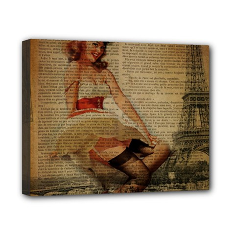 Cute Sweet Sailor Dress Vintage Newspaper Print Sexy Hot Gil Elvgren Pin Up Girl Paris Eiffel Tower Canvas 10  X 8  (framed) by chicelegantboutique