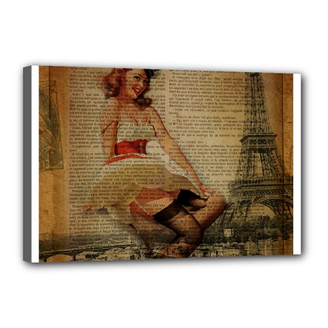 Cute Sweet Sailor Dress Vintage Newspaper Print Sexy Hot Gil Elvgren Pin Up Girl Paris Eiffel Tower Canvas 18  X 12  (framed) by chicelegantboutique