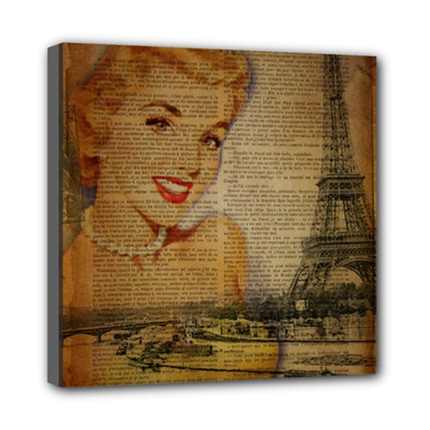 Yellow Dress Blonde Beauty   Mini Canvas 8  X 8  (framed)