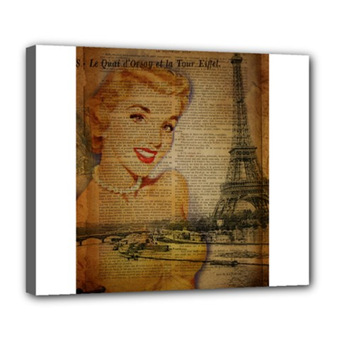 Yellow Dress Blonde Beauty   Deluxe Canvas 24  X 20  (framed) by chicelegantboutique