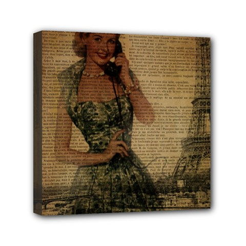 Retro Telephone Lady Vintage Newspaper Print Pin Up Girl Paris Eiffel Tower Mini Canvas 6  X 6  (framed) by chicelegantboutique