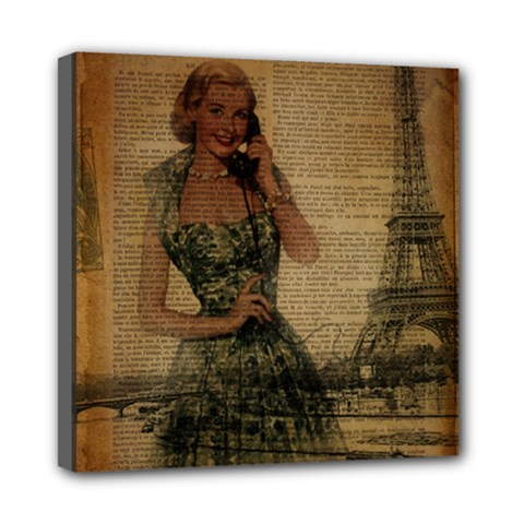 Retro Telephone Lady Vintage Newspaper Print Pin Up Girl Paris Eiffel Tower Mini Canvas 8  X 8  (framed) by chicelegantboutique