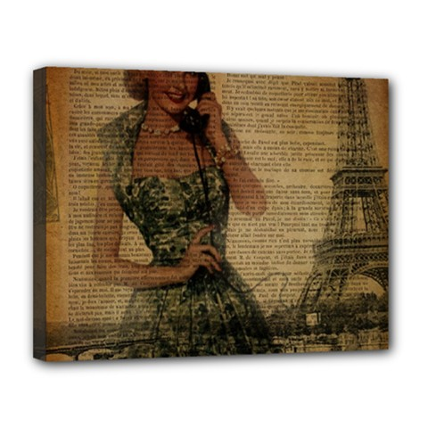Retro Telephone Lady Vintage Newspaper Print Pin Up Girl Paris Eiffel Tower Canvas 14  X 11  (framed) by chicelegantboutique