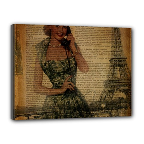 Retro Telephone Lady Vintage Newspaper Print Pin Up Girl Paris Eiffel Tower Canvas 16  X 12  (framed) by chicelegantboutique