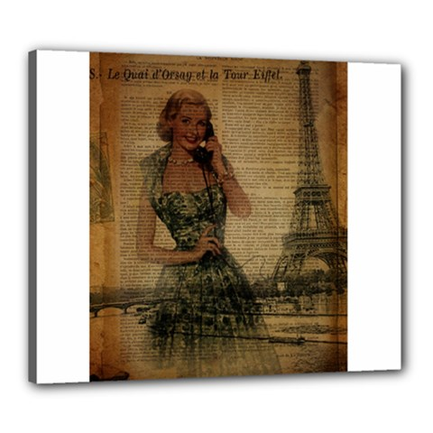 Retro Telephone Lady Vintage Newspaper Print Pin Up Girl Paris Eiffel Tower Canvas 24  X 20  (framed) by chicelegantboutique