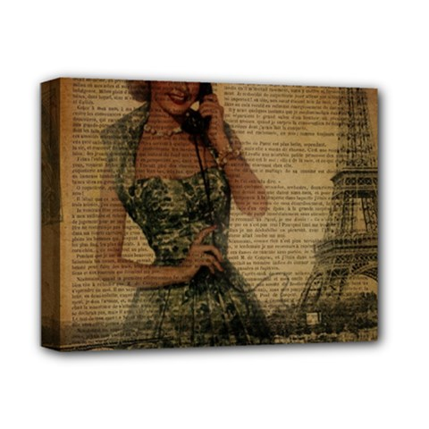 Retro Telephone Lady Vintage Newspaper Print Pin Up Girl Paris Eiffel Tower Deluxe Canvas 14  X 11  (framed) by chicelegantboutique