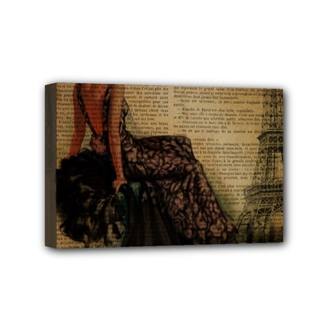 Elegant Evening Gown Lady Vintage Newspaper Print Pin Up Girl Paris Eiffel Tower Mini Canvas 6  X 4  (framed) by chicelegantboutique
