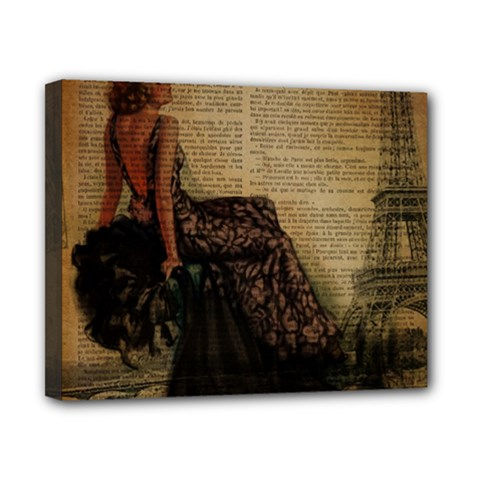 Elegant Evening Gown Lady Vintage Newspaper Print Pin Up Girl Paris Eiffel Tower Canvas 10  X 8  (framed) by chicelegantboutique